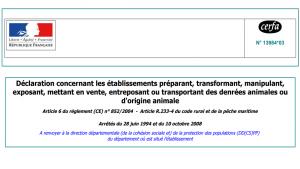 Déclaration de manipulations de denrées animales